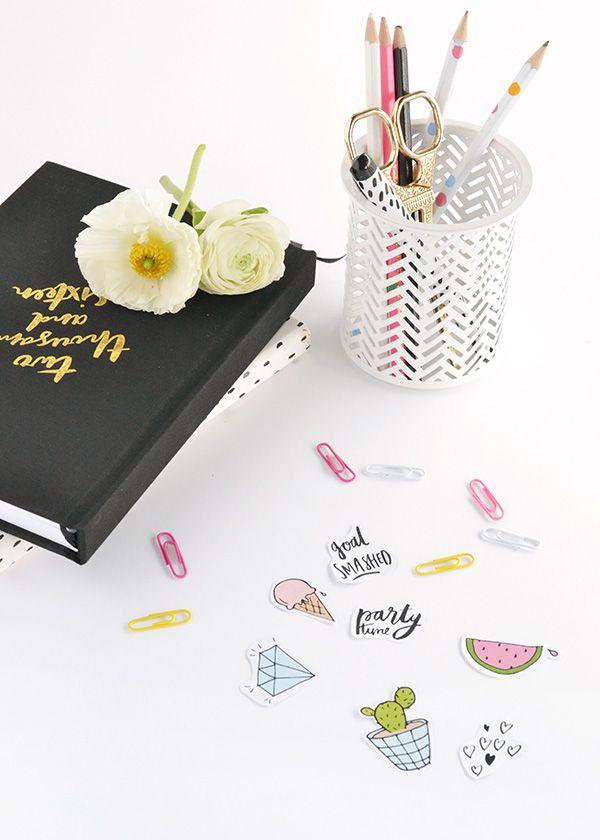 カラフルな印刷可能な日記ステッカー