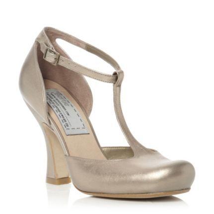 bertie, ladies gold t-bar curved heel court shoe, dune shoes online