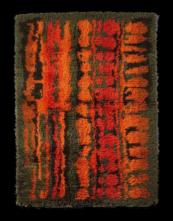 Finnish Rya rug hand knotted Sweden Finland Denmark mid century modern