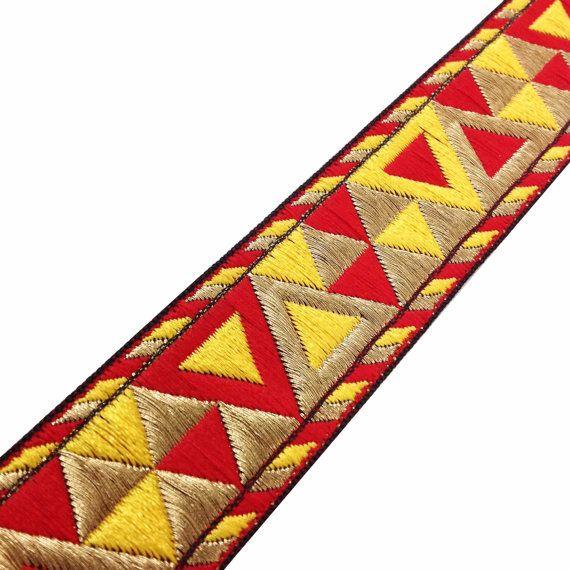 Bordure Jacquard motif aztèque en or - rouge - jaune - frontière / dentelle / Jacquard garniture / dentelle Sari