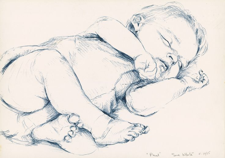 how to draw a baby | Drawing of Baby Paul, 1965, blue ballpoint drawing by Australian ...