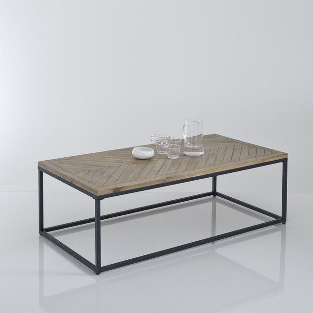 Nottingham Parquet Top Coffee Table.Ideal to enhance the look of your lounge, this coffee table teams the authenticity of a wooden table top and the contemporary feel of a black lacquered metal leg frame. Size:Length: 120 cmHeight: 40 cm.Depth: 60 cm.Parquet table top in solid waxed pine. Matt black lacquered metal feet with an epoxy finish.Self-assembly.