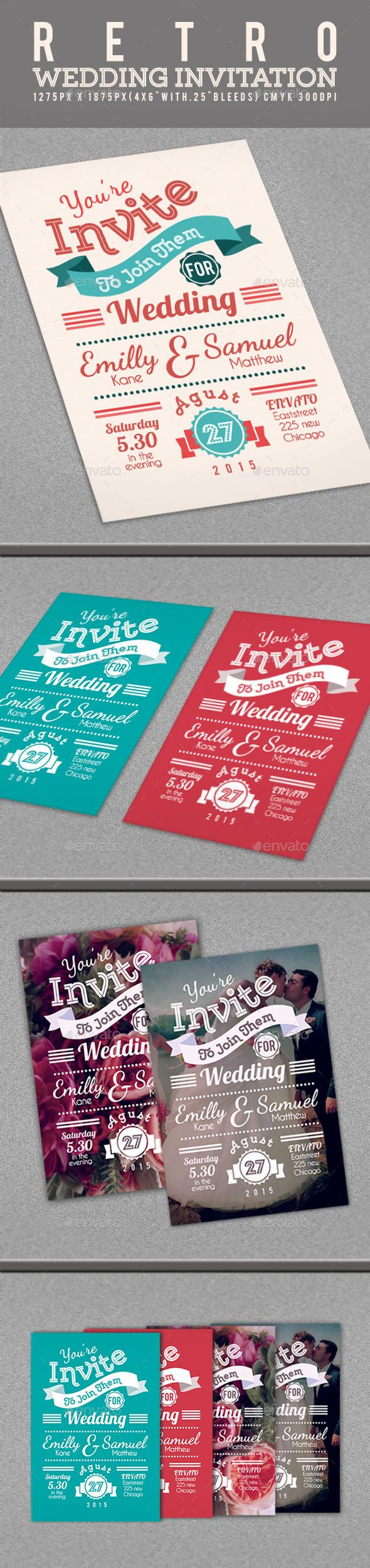 Retro Wedding Invitation Template #design Download: http://graphicriver.net/item/retro-wedding-invitation/12445667?ref=ksioks