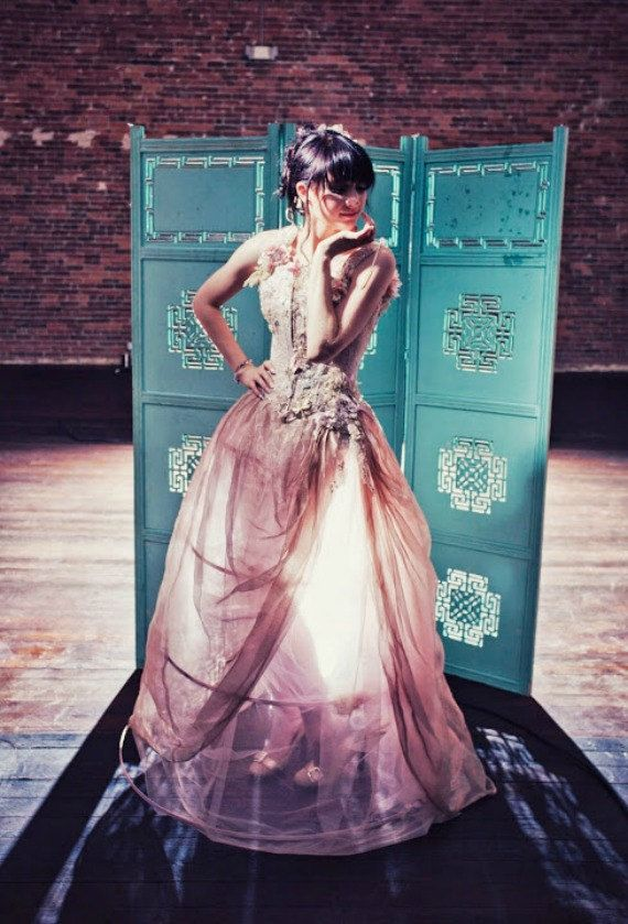 Fantasy Dragonfly Wedding Dress Pink and Gold by BellaVittoria, $1985.00