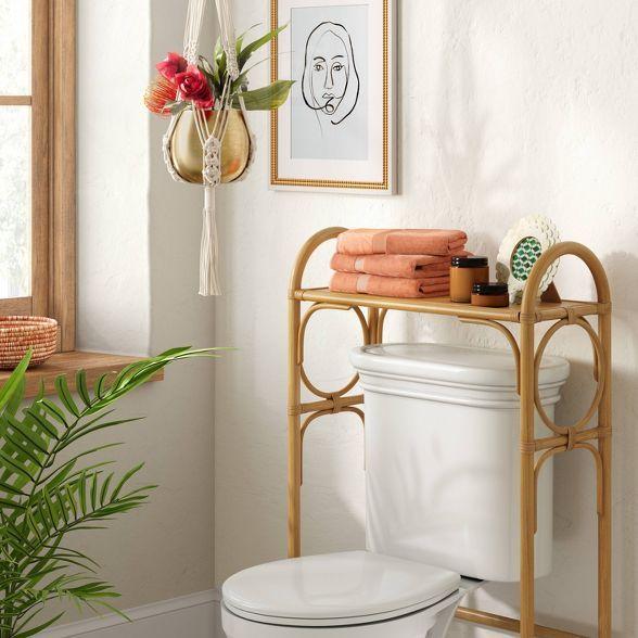 Rattan Toilet Shelf Tan Opalhouse In 2020 Toilet Shelves Toilet Storage Over Toilet Storage