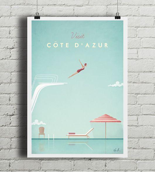 dodatki - plakaty, ilustracje, obrazy - grafika-Lazurowe Wybrzeże - vintage plakat