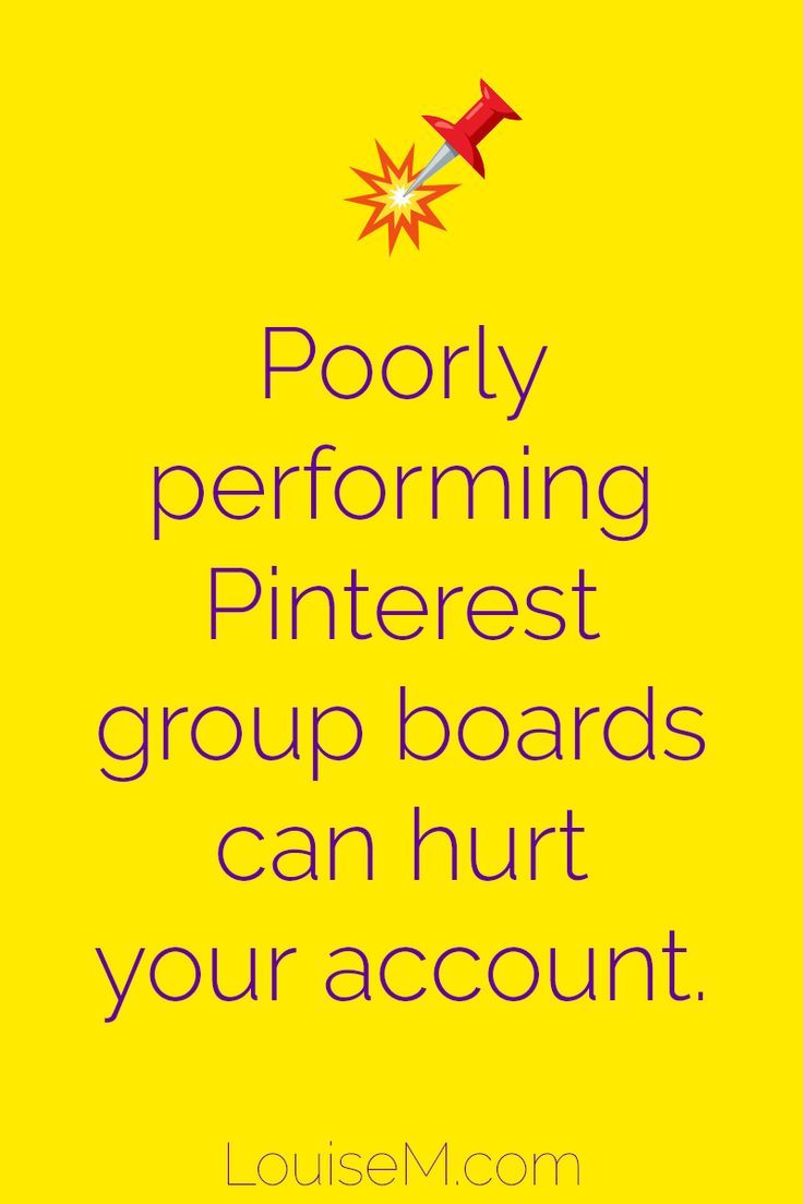Pinterest marketing tips: Group boards that perform poorly can actually hurt you on Pinterest. Click to blog to learn more! #marketingtips #smmtips #pinteresttips