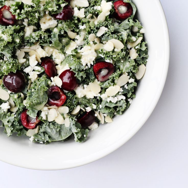 Kale Cherry Salad with Honey Lime Vinaigrette using fresh BC Tree Fruits Cherries!