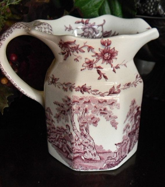 Mason's Romantic Purple Transferware Pitcher Roses Scrolls Victorian ...