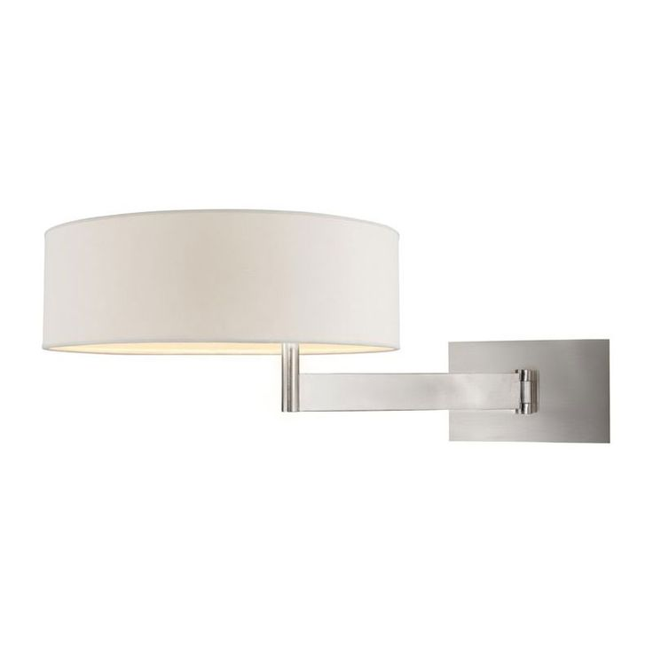 Beam Swing Arm Wall Light features an Off White linen shade with a Satin Nickel finish. Two 13 watt, 120 volt CF GU24 base compact fluorescent bulbs are required, but not included. 13 inch width x 9.5 inc height x 13 inch depth.