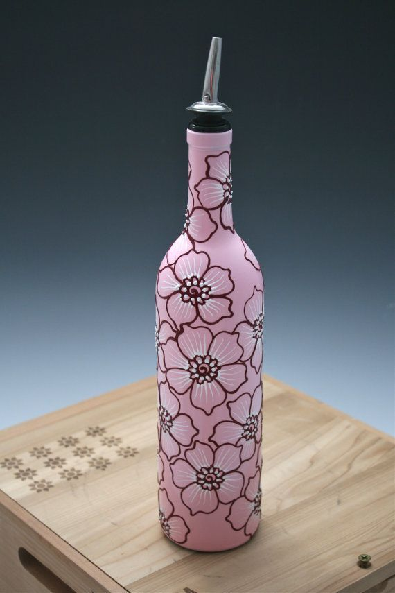 hand painted wine bottles   Hand Painted Wine bottle Vase Up Cycled Black with by LucentJane
