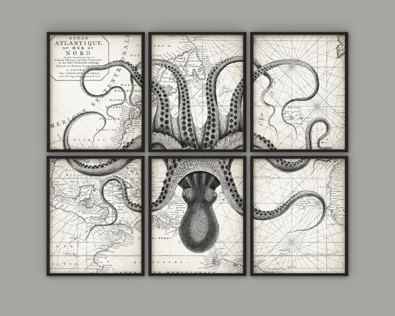 Bon Octopus Wall Art Poster Set Of 6 Octopus Ink By QuantumPrints