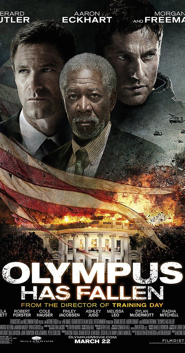 Directed by Antoine Fuqua.  With Gerard Butler, Aaron Eckhart, Morgan Freeman, Angela Bassett. Disgraced former Presidential guard Mike Banning finds himself trapped inside the White House in the wake of a terrorist attack; using his inside knowledge, Banning works with national security to rescue the President from his kidnappers.  Olympus Has Fallen