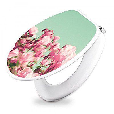 banjado - Design WC Sitz Toilettendeckel Toilettensitz 36cm x 5cm x 45cm mit Motiv Rosa Blüten, Toilettendeckel:Holzoptik