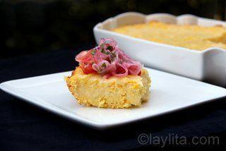 Pastel de choclo con queso or pastel de humita savory corn cake