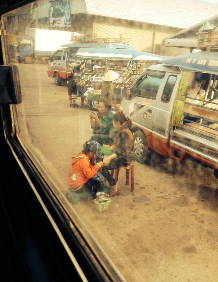 Days 60-61: Tha Khaek, Laos. Bus station, the perfect spot for manicure.