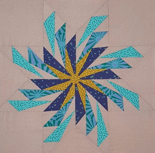 Whirling Dirvish foundation pieced cushion made in Punctuated fabric designed for Leutenegger.