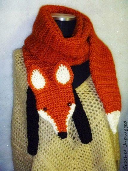 WTF Wrap The Fox Faux Fox Scarf Funky Hip by CrochetUnplugged