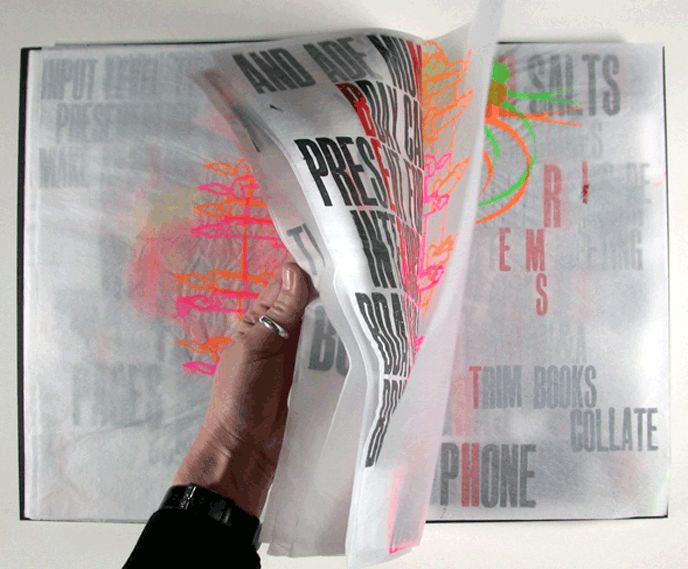 'Done' is a unique artists' book produced specifically for the 'we love your  books' 2009 exhibition entitled 'Closure', at Artworks, Milton Keynes.  This tissue paper book is based on an obsession with list-making. It  explores the typographic potential of the handwritten list and places it  within a new context.    Letterpress and silkscreen printed onto tissue paper.