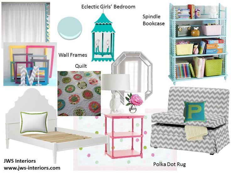Eclectic girls bedroom, turquoise girls bedroom, teal bedroom, teal and pink, chevron bench, chevron rug, white beds, twin girls room, bedroom design  www.jws-interiors.com  Design by JWS INTERIORS  *daily design blog