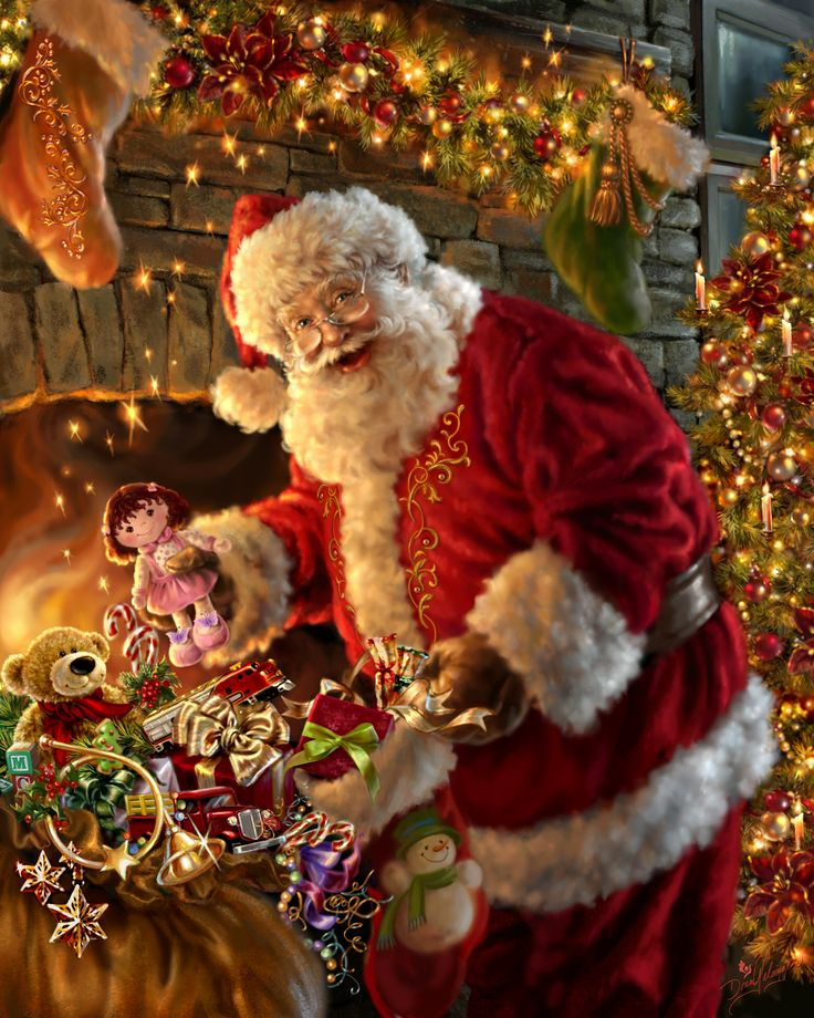 Santa Claus ~ 'Filling the Stocking' by Dona Gelsinger