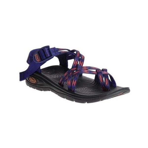 Women's Chaco Z/Volv X2 ($100) ❤ liked on Polyvore featuring shoes, sandals, casual, blue sandals, adjustable strap sandals, blue strappy sandals, toe-ring sandals and ankle strap sandals