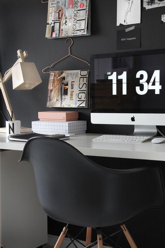 Black home office via Sage Atelier. Photo by Nina Holst.