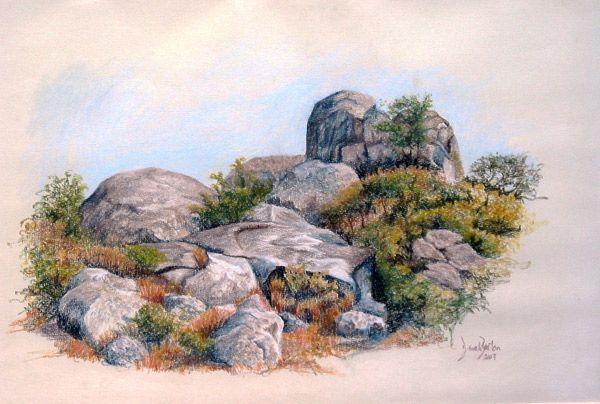 Rocky Outcrop Nyanga (Inyanga), Zimbabwe - Soft pastel on paper by Dinah Beaton