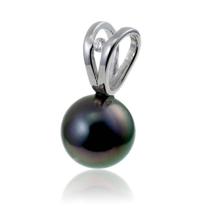 Pendentif femme, diamant 0,02 ct, perle de culture de tahiti 3,75 ct, , 0.47g, Style classique - Manège à Bijoux