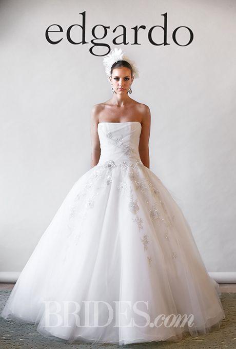 """Brides: Edgardo Bonilla - Fall 2015. """"Fire"""" strapless square neckline ball gown beaded wedding dress in tulle and organza, Edgardo Bonilla"""