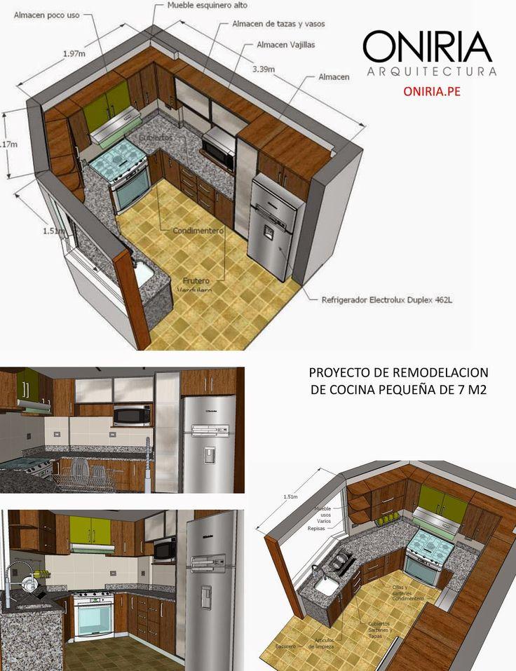 Oniria: Proyecto de Remodelacion de Cocina Pequeña de 7 m2...