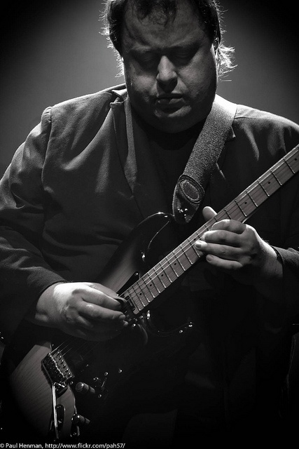 Steve Rothery of Marillion. Met him after a gig at The Bacchanal (a nightclub in San Diego) in 1990. Talked about music and gear for a half hour. A real down-to-earth guy.