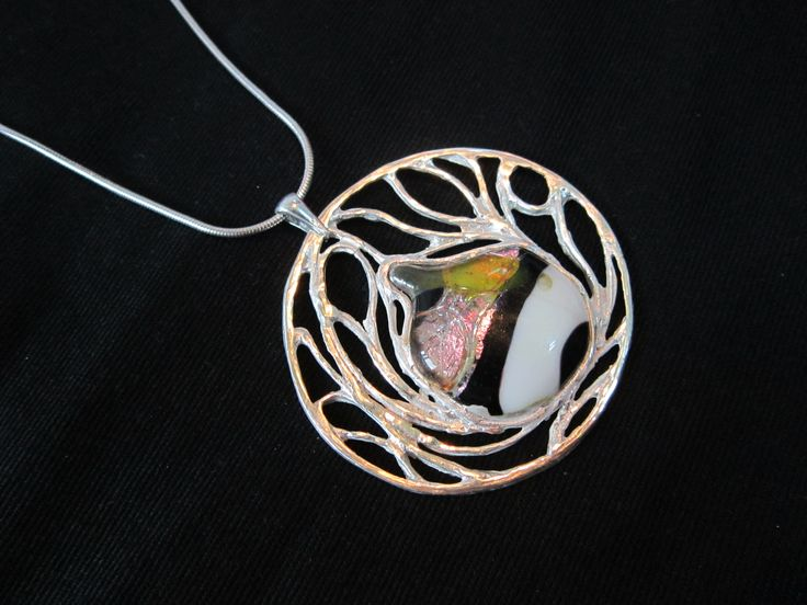 Pendant, glass fusion and Art Clay Silver, by Cris Briz