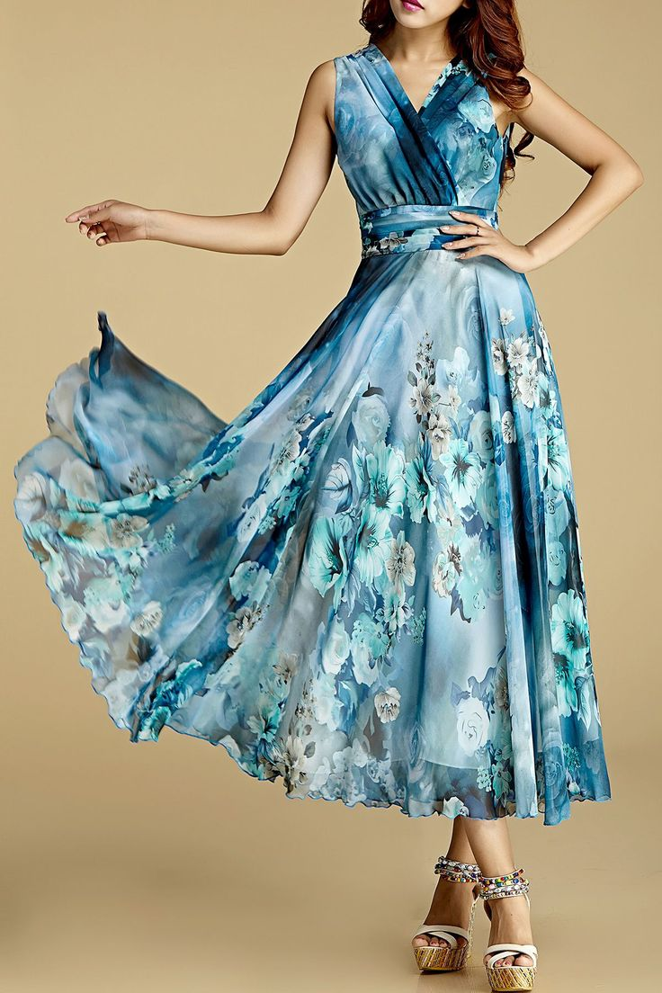Borme Water Blue Floral Print Crossed Chiffon Dress