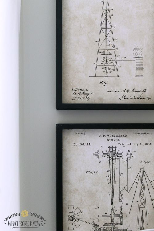 LOVE these windmill patent prints!! They look awesome with the windmill tail and windmill blades hanging on the wall! #neutraldecor #windmill #rusticelegance #etsyshop #rustic #americana #vintage