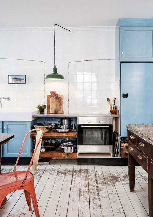 kitchen, slightly industrial. blues and painted scuffed floors, furniture placement