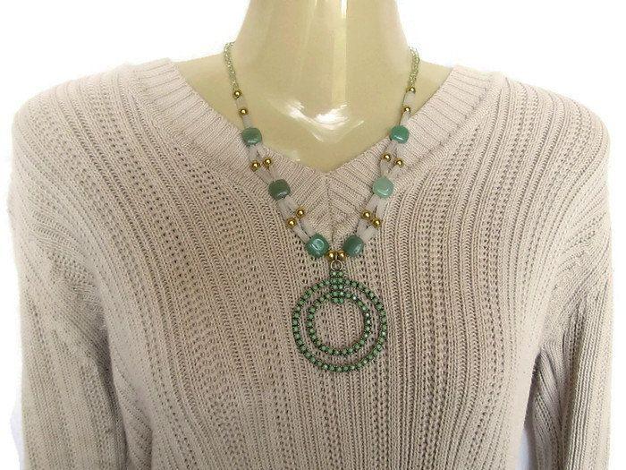 Green Adventurine Crystal Quartz Necklace Gold Pendant Necklace Gemstone Beadwork Necklace Unique Crystal Necklace Strand Statement Necklace - pinned by pin4etsy.com