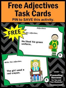 You will download six free printable adjective task cards for teaching in your first, second or third grade literacy centers or stations for a scavenger hunt, SCOOT games or other fun activities. You may use them as a parts of speech review, for a test prep lesson, as a quick formative assessment or as extra practice for special education students, ESL or speech and language therapy. You will also receive a student response form and answer key.
