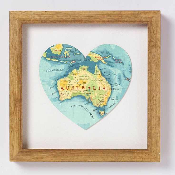 australia map print heart by bombus off the peg | notonthehighstreet.com