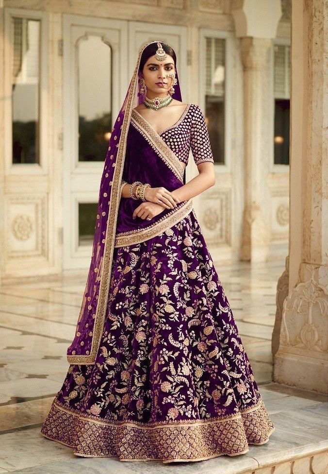 72571ae482 Designer Bollywood Velvet Wedding Wear Indian Lehenga Choli Shawl Net  Duppatta