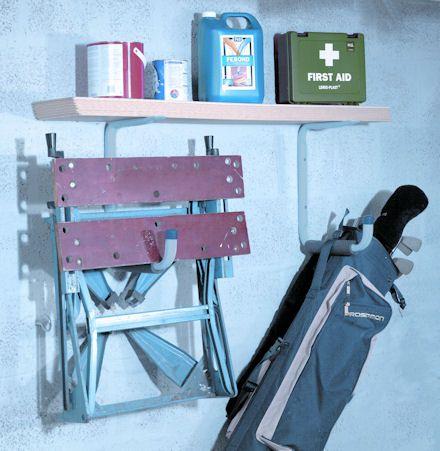 garage storage hook and shelf in one