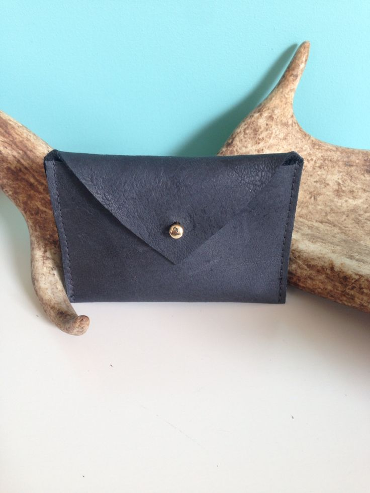 Little Black Leather Wallet! Handmade dutch design.