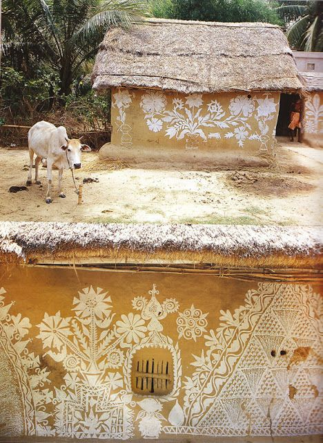 """Warli paintings of Maharashtra / West-Indían mud houses. """"The Warlis or Varlis are an indigenous tribe or Adivasis, living in Mountainous as well as coastal areas of Maharashtra-Gujarat border and surrounding areas. (en.wikipedia.org/...)"""