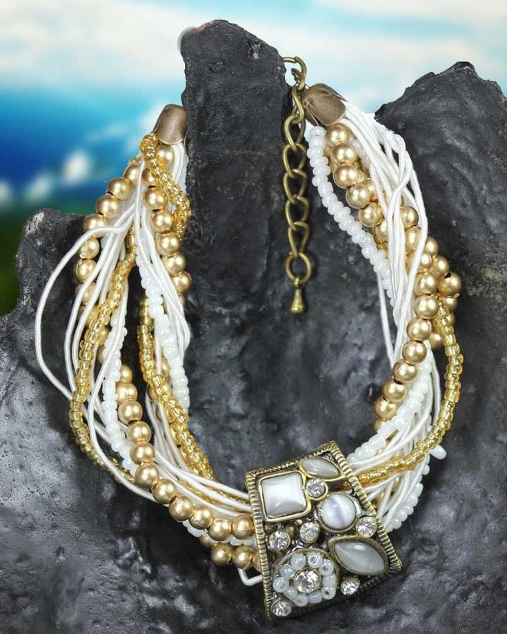 Wearing Metal Basket Twisted String Golden White Bracelet will truly boost your beauty. This metallic twisted bracelet is the best way to enhance the charm of your hand. This designer bracelet is elegant so that you can wear it anywhere.This Metal basket bracelet with white and golden + white thread strings twisted together looks excessively stylish.  Visit for buy this Metal Bracelet:- http://khoobsurati.com/khoobsurati/khoobsurati-metal-basket-twisted-string-golden-white-bracelet