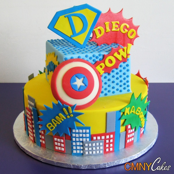 Superhero Cake ** think I found the solution to having to make black fondant. I love the colored buildings!