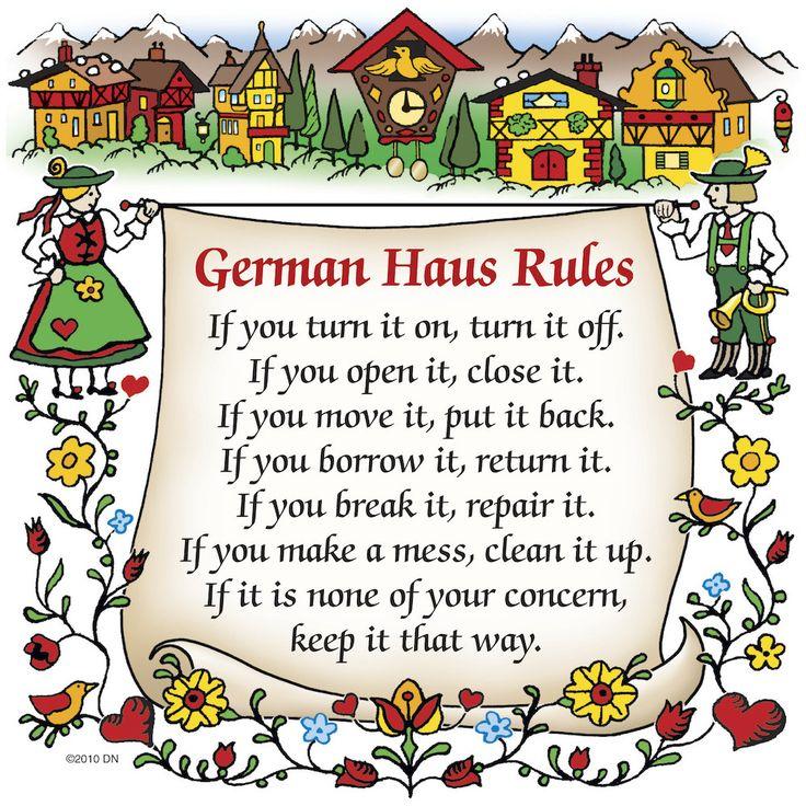 "German Gift Ceramic Wall Hanging Tile: ""German Haus Rules"""
