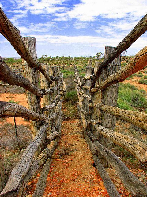 Cattle yard near Orimiston Gorge MacDonnell Ranges Northern Territory Australia