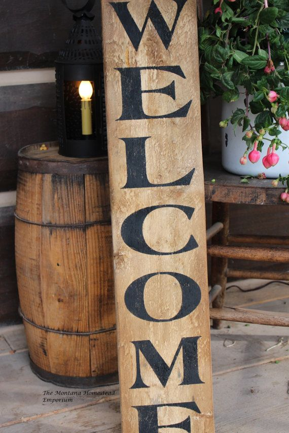 Vertical Welcome Sign Rustic Welcom Sign Weathered Wood