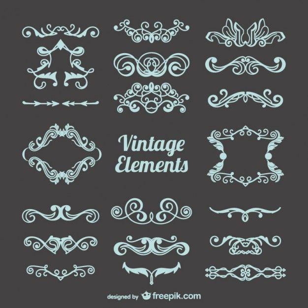 Decorações livres do vintage conjunto Vetor grátis                                                                                                                                                                                 Mais