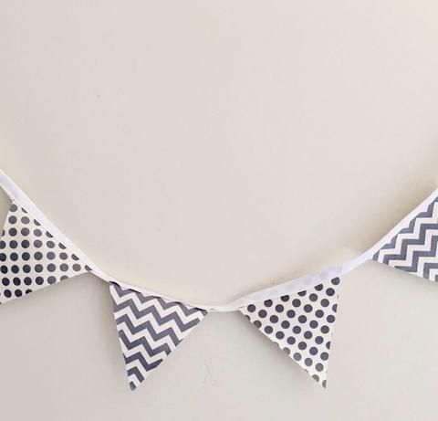 Chevron & Polka Dot Bunting | Grey & White